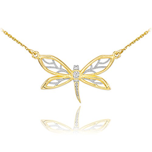 14k Yellow Gold 1-Stone Diamond Filigree Dragonfly Pendant Necklace, 16