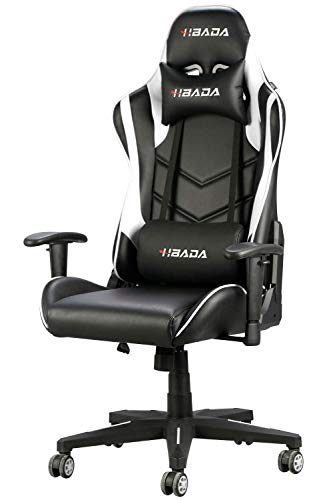 Hbada Gaming Chair Racing Style Ergonomic High Back Computer Chair with Height Adjustment, Headrest and Lumbar Support E-Sports Swivel Chair, White