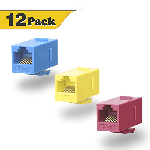 VCE 12-Pack CAT6 Keystone Coupler,RJ45 Female to Female Insert Coupler, UTP Keystone Inline Coupler Blue+Red+Yellow UL Listed