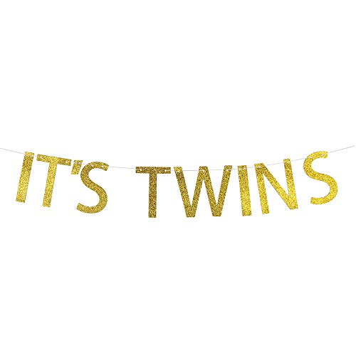It's Twins Baby Shower Banner, 1st Birthday Bunting Sign, Gold Glitter Gender Reveal Pregnancy Announcement Party Decorations