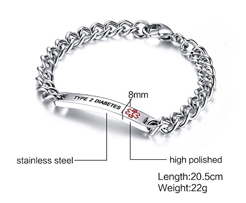 VNOX TYPE 2 DIABETES Bracelet Stainless Steel Medical Alert ID Bracelet for Unisex 8'' by VNOX (Image #2)