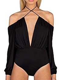 Allegrace Women Sexy String Halter Neck Bodysuit Off...