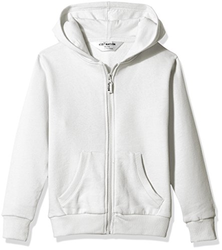 Kid Nation Kids' Brushed Fleece Zip-up Hooded Sweatshirt for Boys Girls XS White by Kid Nation