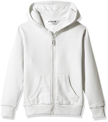 Kid Nation Kids' Brushed Fleece Zip-up Hooded Sweatshirt for Boys Girls Medium White ...