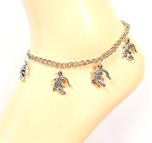 (Gators Anklet - Alligators - Go Gators - Florida Platinum-tone Ankle Bracelet- Ocean Lovers Collection)