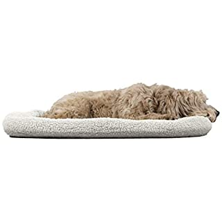 Furhaven Pet Dog Bed Kennel Pad - Faux Lambswool & Sherpa Crate or Kennel Mat Bolster Pet Bed for Dogs & Cats, Cream, Extra Large