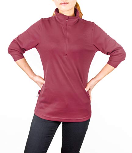 Women's Brush Lined Quarter Zip Long Sleeve Pullover, Polygiene Antimicrobial Odor Protection 100% Polyester Indoor Outdoor Fleece (Persian Red, Small)