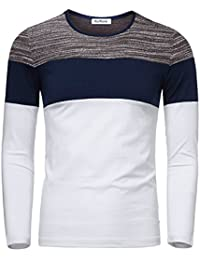 Men's Casual Contrast Color Crew Neck Long Sleeve T-Shirt Top