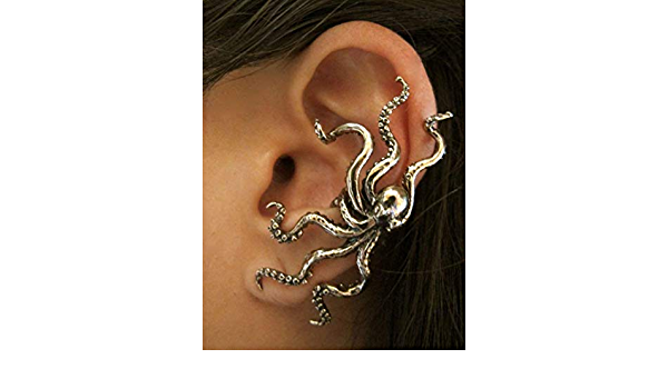 Handmade octopus clip on earrings Dangle silver charm ear cuff No hole ear cuffs no pierced fake ear wrap Halloween ghost horror unusual jewelry gift for sister non piercing ear climber for party
