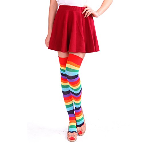 Women's Extra Long Striped Socks Over Knee High Opaque Stockings (Rainbow) (Striped Socks Rainbow Knee)