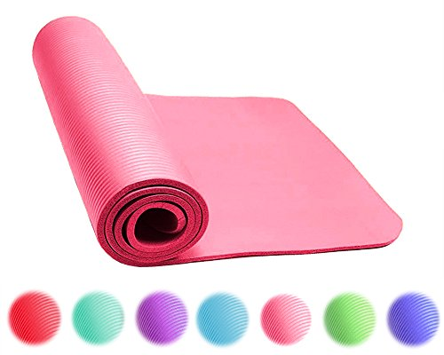 Thick Exercise Yoga Floor Mat Nbr 24 X 71 Inches Great for Camping Cardio Workouts Pilates Gymnastics (Pink)