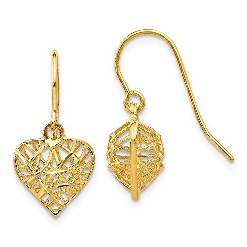 14k Yellow Gold Heart Drop Dangle Chandelier Earrings Love Fine Jewelry Gifts For Women For Her ()
