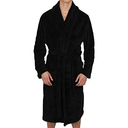 Regency New York Coral Fleece Robe (XX-Large/XXX-Large, Black Contrast Grey...