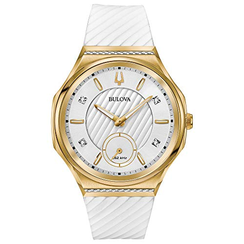 Ladies' Bulova Curv Yellow Gold-Tone White Rubber Strap Watch 98R237