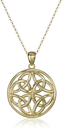 18k Yellow Gold Plated Sterling Silver Celtic Triquetra Trinity Knot Medallion Pendant Necklace, 18