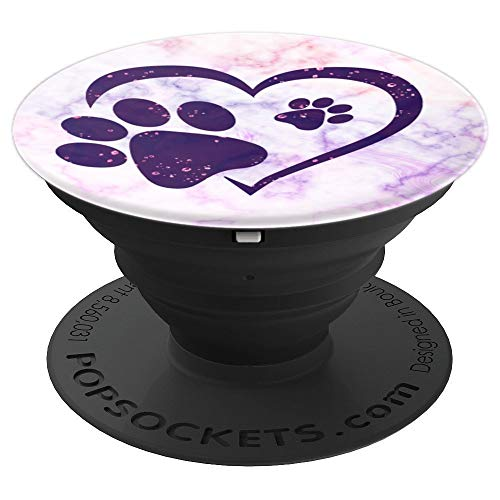 Paw Print Heart Purple Pink Marble Dog Cat Owner Lover Girl - PopSockets Grip and Stand for Phones and Tablets