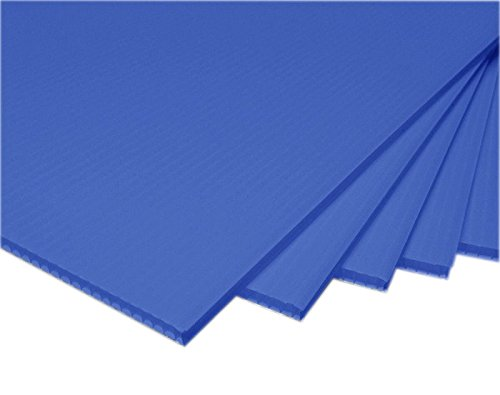 "TSM Coroplast Correx Poster Corrugated Plastics Sheets Sign Blank Board (24""x18""x4mm., 5-pack/blue)"