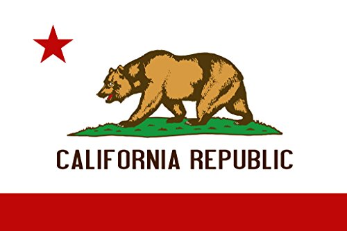 California Republic Bear State Flag Poster 12x18