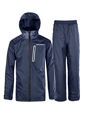 Hooded Mens Outerwear (SWISSWELL Hooded Rain Jacket For Mens Navy Medium)