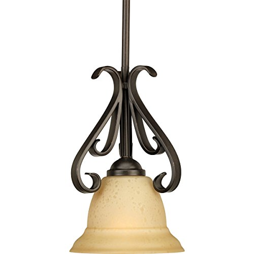 (Progress Lighting P5153-77 1-Light Stem-Hung Mini-Pendant with Tea Stained Glass, Forged)