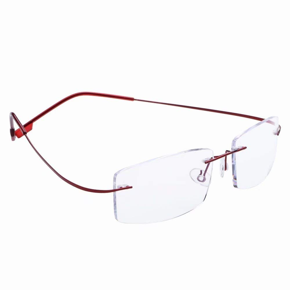 Titanium Rimless Anti-Blu-ray Computer Readers +3.25 Mens Womens Red Frame Reading Glasses Spectacles w Case