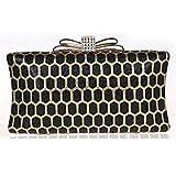 FLOW ZIG Women's Exquisite Bowknot Stereo Pattern Hand Set Drill Evening Handbags