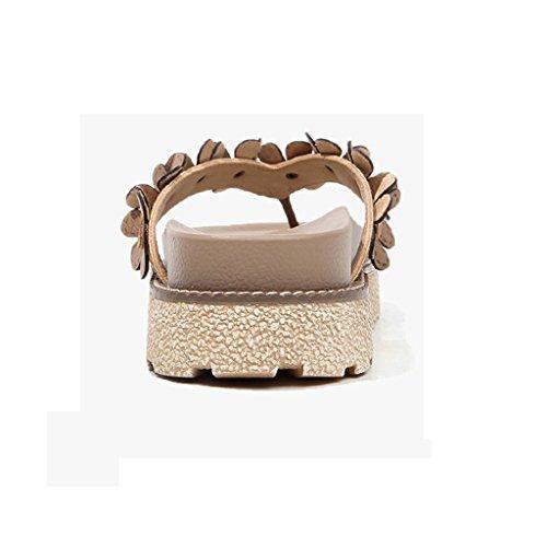 Flops Grigio Dimensioni 0 Spessa Coreana Eu39 cn39 Muffin Femminile Moda Suola Estate Pantofole Flip Marrone uk6 colore AP5BqB4