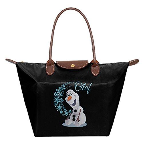 [Olaf Wave Of Snowflakes Women Black Fashion Hobo Bag Large Tote Shoulder Handbag] (Hobo Costume For Toddler)