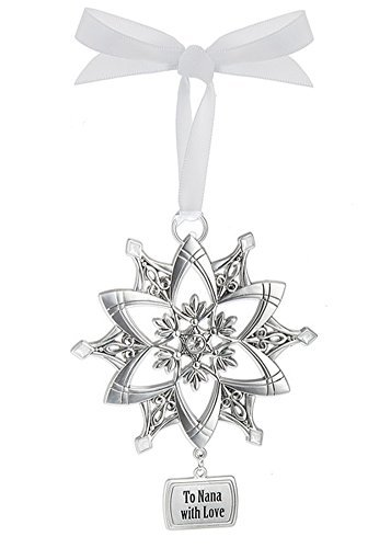(To Nana With Love Silver Snowflake Charm Sentiment Ornament)