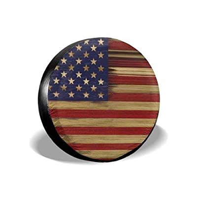 "MSGUIDE Spare Wheel Tire Cover American Flag Wood Weatherproof Tire Protectors for Jeep Trailer RV SUV Truck and Many Vehicles (14"" 15"" 16"" 17""): Clothing"
