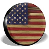 MSGUIDE Spare Wheel Tire Cover American Flag Wood Weatherproof Tire Protectors for Jeep Trailer RV SUV Truck and Many Vehicle