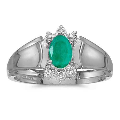 10k White Gold Oval Emerald And Diamond Ring (Size 5.5) ()