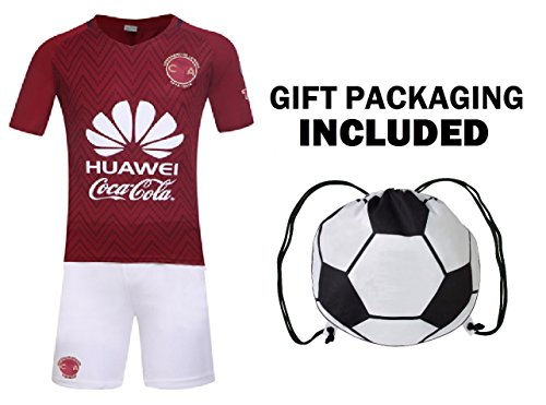 Fan Kitbag Club America Club de Fútbol América S.A.de C.V. Men's Soccer Jersey & Shorts Adult Premium Gift Kitbag ✮ BONUS GIFT Soccer Backpack (Medium, Away Short Sleeve)