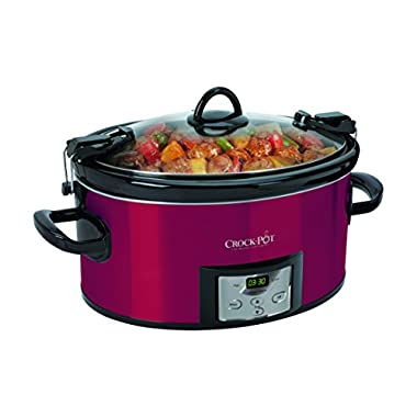 Crock-Pot SCCPVL610-R-A Programmable Cook and Carry Oval Slow Cooker, Digital Timer, Red