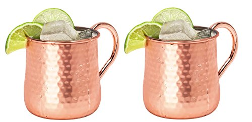 Silver One Stainless Steel Copper Hammered Finish Belly Shape Cocktail Moscow Mule Mug, 20 oz., Two Pack