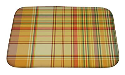 Gear New GN-BMAT-MF-A-3649-2417 Checkered Pattern Bath Rug Mat No Slip Microfiber Memory Foam
