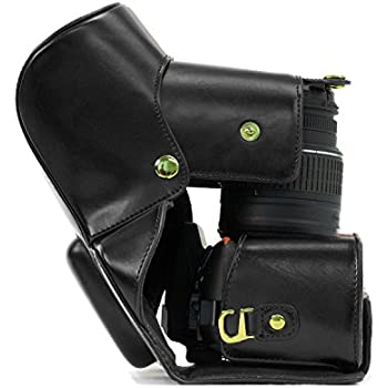 """MegaGear """"Ever Ready"""" Black Leather Camera Case for New Nikon D5300 Cameras with 18-55mm VR Lens"""