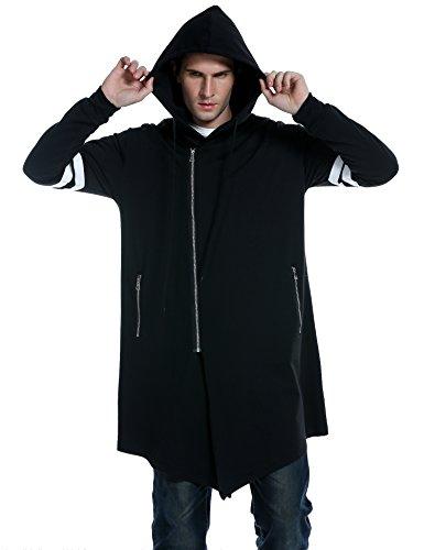 Coofandy+Men%27s+Fashion+Long+Hooded+Outwear+Hoody+Sweatshirt+Teenager+Hoodies%2CBlack%2CLarge