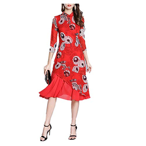 Red Mujeres Size Isbxn Temperamento Color Red Vestido Gasa Las impresión XXL Cheongsam Modificado Elegante de de qqZcOv