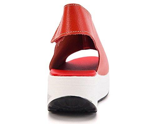 Pelle Hishoes Con Zeppa Sandali Rosso Donna Estate Toe Eleganti Piattaforma Casual Cinturino Scarpe Open Caviglia taxa1wr0q
