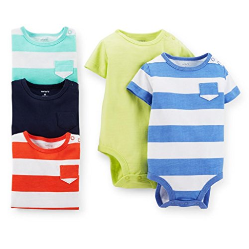Carter's Baby Boys' 5 Pack Bodysuits (Baby) - Stripes/Solids