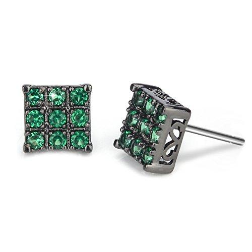 Black Green Diamond Stud Earring for Men Square Sensitive Ears, 8mm - Crystal Black Square Ice