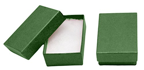 Box Made Custom Jewelry (Novel Box MADE IN USA Jewelry Gift Box in Green Kraft With Removable Cotton Pad 2.5X1.8X1