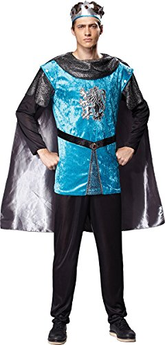 [Mens Medieval & Gothic King Arthur Fancy Dress Party Outfit Royal Knight Costume] (King Arthur Costume Uk)