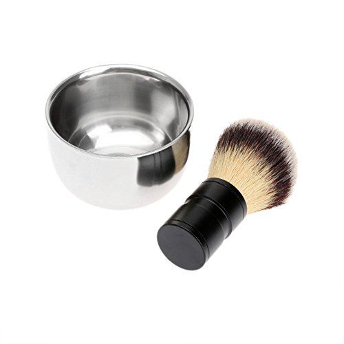 Dophee 1Set Men's Barber Tool Badger Hair Shaving Brush + Stainless Steel Bowl Mug Soap Cup by dophee