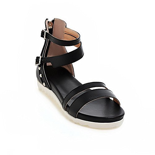 AmoonyFashion Womens Open Toe Low Heels Soft Material Solid Zipper Sandals Black