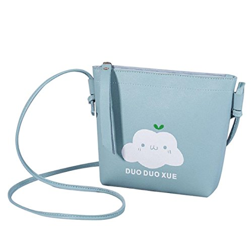 Thenlian Women Fashion Solid Shoulder Bag Messenger Bag Crossbody Bag Phone Coin Bag Lovely Cloud (Blue)