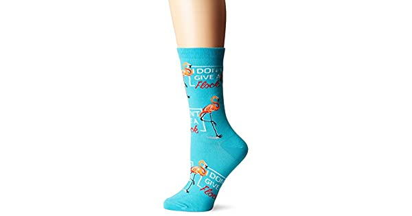K Bell Women/'s 2 pairs Crew Socks Shoe 4-10 I DON/'T GIVE A FLOCK Flamingo Green