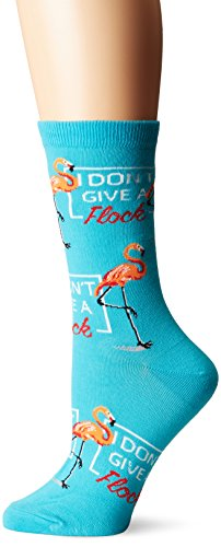 K. Bell Women's Play on Words Novelty Casual Crew Socks, Don't Don't Give a Flock (Turquoise), Shoe Size: -