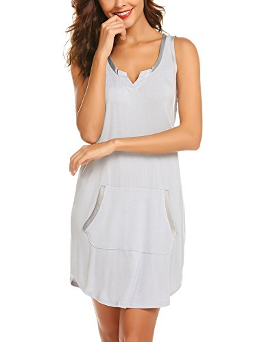 Ekouaer Womens Nightgown Sleeveless V Neck Cotton Pajama Sleep Tees Shirt Dress Sleepwear ()